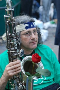 A rose in Sohrab's sax (at the UN rally July 24th)